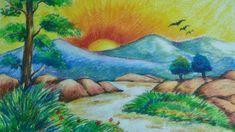 Beautiful scenery drawing for kids Scenery Drawing For Kids, Art Drawings For Kids, Bird Drawings, Easy Drawings, Oil Pastel Art, Oil Pastel Drawings, Beautiful Scenery Drawing, Oil Pastel Landscape, Landscape Pencil Drawings