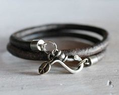 For The Guys - Men's Bracelet Leather Wrap with Sterling by ChickpeaDesignStudio