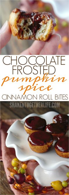 Chocolate Frosted Pumpkin Spice Cinnamon Roll Bites - flaky layers of puff pastry, spirals of pumpkin pie spiced sugar and gorgeous glossy chocolate frosting!