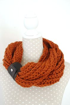 Chunky Rusty Crochet Scarf Infinity Scarf with by stunninglooks, €23.45