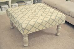 Not So Newlywed Mcgees Diy Upholstered Ottoman Made From An Old Coffee Table