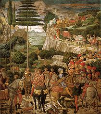 Benozzo Gozzoli Cappella dei magi, corteo con giuliano de' medici e giuseppe patriarca di costantinopoli.jpg