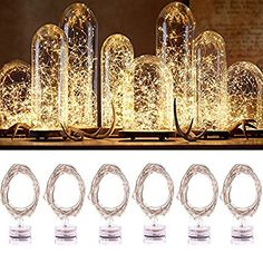 6PCS Indoor Fairy Lights, Jeasun CSL6 2M 20 LEDs Warm White Battery Operated String Lights Micro LED Battery Powered Decorative Starring Lights on Waterproof Copper Wire for Bedroom Wedding Party Bottle DIY