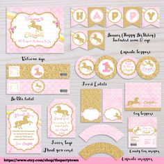 Unicorn Birthday Party Package Pink and Gold Rainbow Unicorn