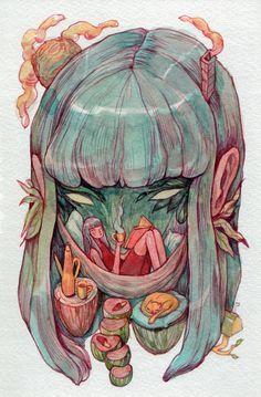 Headspace Art Print by Marija Tiurina - X-Small Kunst Inspo, Art Inspo, Art And Illustration, Pretty Art, Cute Art, Posca Art, Psychedelic Art, Art Sketchbook, Aesthetic Art