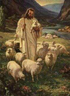 This same picture hung in my little childhood church. Still love it. The Lord is my Shepherd, I Shall not want