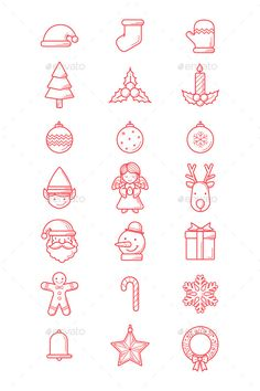 Christmas Line Icons #design #xmas Download: http://graphicriver.net/item/christmas-line-icons/13642595?ref=ksioks