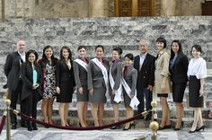 Bux4Gold owner, Patrick Kane and the Japanese Queen members with Bux4Gold friend gathered under the Legislative Building dome. — at Washington State Capitol.