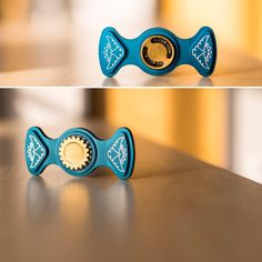 """Fidget Spinners - edc  Check out how its made on youtube:  https://youtu.be/TrDnFe-6pTk    This fidget spinner is a precision machined, anodized aluminum housing with a brass insert.  The spinner includes 1 machined housing, 2 machined plugs and a bearing.  There is no glue involved, it was assembled using cryogenic and press fits.  Enjoy!  Dimensions are approximately 3"""" X 1 3/8"""" with a Bones Red bearing."""