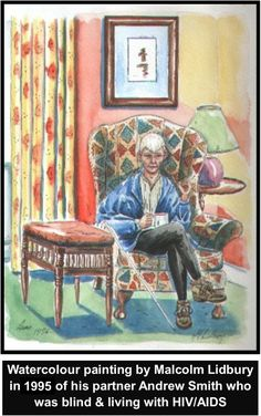 Painting by Lidbury of his partner 'Andy', then blind & quite frail.  On a BodyPositive Somerset HIV/AIDS retreat Dartmoor, Devon 1995.  #LGBT  http://www.lgbthistorycornwall.blogspot.com