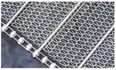 A conventional weave conveyor belt with chain link edge