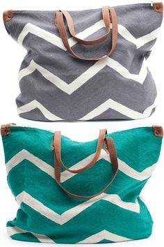 Virginia Johnson's chevron bags via Joyce Macfarlane Interiors