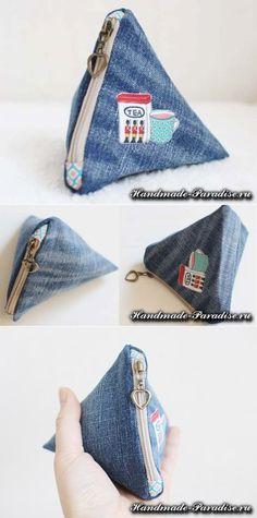 Как сшить треугольный кошелек из джинсов | Своими руками