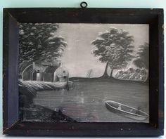 Antique Folk Art Sandpaper Painting Lake Scene w Fishermen Old Frame Glassnr   eBay
