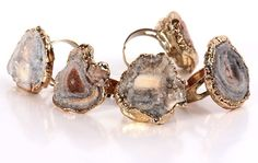 Adjustable Copper Plated Edge Irregular Sunstone Agate Rings for Jewelry Ring $41.54