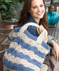 Waves Tote Bag - I found this great Waves Tote. It's made in Eco-Cotton, however, you could also try Super Saver or With Love...maybe mix it with Boutique Treasure. I know just what colors I'm going to use!