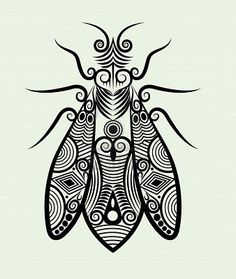 Bee ornament ink drawing for tattoo design Stock Photo