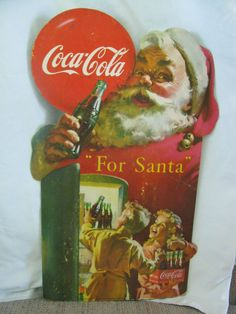 1950 Coca Cola Santa Claus Stand Up Easel Grocery Store Christmas Cardboard Sign