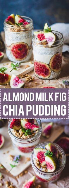 This Almond Milk Fig Chia Pudding breakfast recipe is pretty, vegan and with no added sugars! #chiapudding