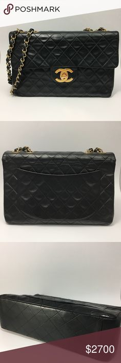 """Vintage XL jumbo Classic 2.55 Chanel Handbag Vintage XL jumbo classic 2.55 leather lambskin single flap Chanel bag. This rare Chanel features the large gold CC. It is the jumbo version 13"""" x 9"""" x 4"""". It is in very good previously lived condition. Corners and chain show some signs of wear. Please see photos. Interior in very good condition. Chain can be worn doubled or long as a single chain. Original serial number sticker still attached but number has worn off. Guaranteed 100% authentic…"""