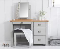 Somerset Oak and Grey Dressing Table Set