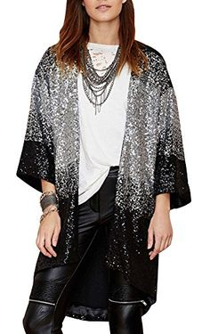 51b58734fbc Chicside Womens Loose Fit Vogue Sequin Long Sleeve Cardigan Coat Black L     More info