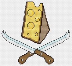 Kitchen Pantry Trilogy Part 1  - Cross Stitch Pattern - Cheese and Knives -  PDF Instant Download - After Original Artwork by Sven Jungo von RoseHipStitches auf Etsy