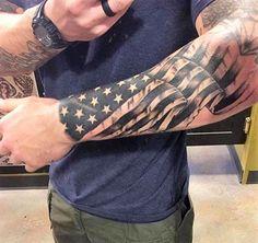 American Flag Under Skin Rip Tattoo On Shoulder Tattoos