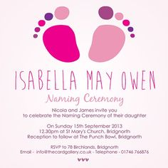Naming Ceremony Invitations From Dotty About Paper