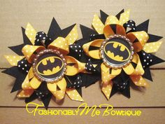 This would be so cute for kaelyn to wear in her hair at the bday!  Batman Boutique Stacked Bottlecap Bow Pigtail by FashionablyMeBows $9.50