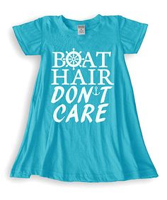 Turquoise Boat Hair Dont Care Swing Dress - Toddler & Girls | zulily