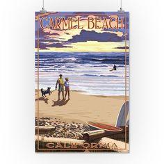 Carmel Beach, California - Sunset Beach Scene - Lantern Press Artwork (16x24 Giclee Gallery Print, Wall Decor Travel Poster), Multi