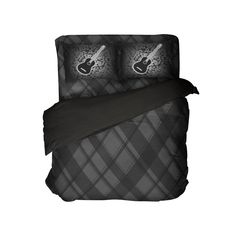 Black and Gray Plaid Comforter Set with Acoustic Guitar Pillowcases from Kids Bedding Company Toddler Comforter Sets, Queen Size Comforter Sets, King Size Comforters, Bedding Sets, Plaid Comforter, Grey Bedding, King Comforter, Duvet, Luxury Bedding