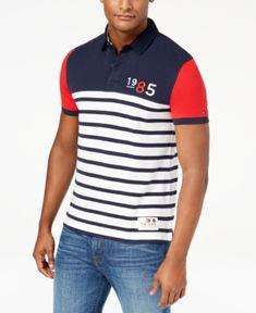 419bb48c0d1 Tommy Hilfiger Men s Duckovny Colorblocked Stripe Polo - Blue S
