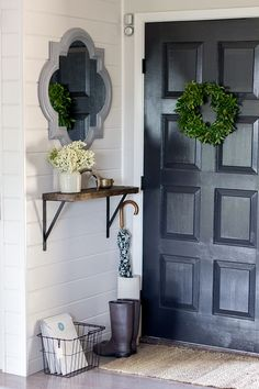 Learn how to make this gorgeous foyer | mixes of dark and light hues | via @jennasuedesign