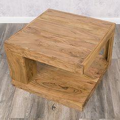 Lounge Zone Stylischer Retro Couchtisch Wohnzimmertisch Sofatisch Beistelltisch MERCADO Sheesham Holz Sheeshamholz Massiv Naturgemasert Stone Finis