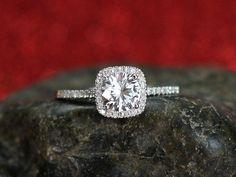 White Sapphire Engagement Ring Cushion Halo Diamond Cuscino Petite 1ct 6mm Round Custom Size White-Yellow-Rose Gold-10k-14k-18k-Platinum by BellAmoreDesign on Etsy https://www.etsy.com/listing/195680366/white-sapphire-engagement-ring-cushion