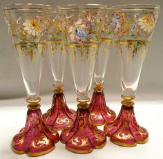 Four Bohemian Glasses with an enamel scene on the top and gold gilding. Hollow stems, cranberry feet with gold gilding Antique China, Antique Glass, Bohemian Art, Boho, Cranberry Glass, Vases, Gold Gilding, Glass Art, Wine Glass