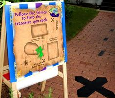 X marks the spot where the party can be found, cool idea - an actual treasure map on the ground.