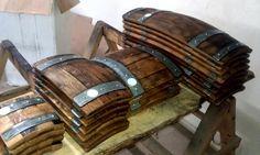 Wine barrel serving trays