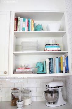 Cookbook shelves in the kitchen