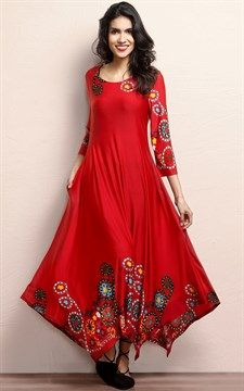 Look at this Red Garden Handkerchief Maxi Dress Indian Dresses, Indian Outfits, Bohemian Dresses, Bridal Lehenga Choli, Dress Cuts, Dress Red, African Print Fashion, Indian Designer Wear, Beautiful Gowns