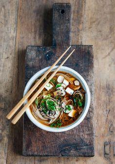 simple miso mushroom soba noodle soup #smithandcaugheys