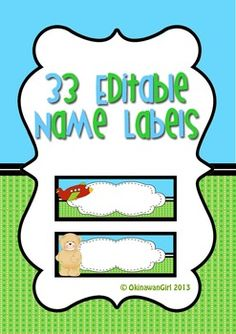 Name labels for non/emergent readers.  Students can begin to identify their names by first associating them with the individual pictures (e.g. car).