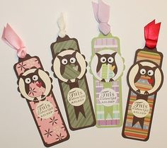 "♥ these Bookmarks by Kim O'Connell from Paper Perfect Designs. Features the Stampin' Up! ""Owl Builder"" Punch."