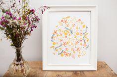 Folk Art Print, Scandinavian Folk Art, Nursery Art, Kitchen Art, Flower Art, Flower Artwork by maehandmade on Etsy https://www.etsy.com/listing/231427059/folk-art-print-scandinavian-folk-art