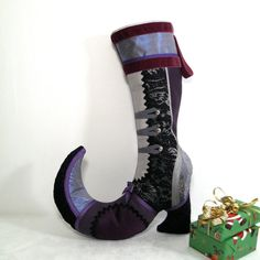 Victorian Christmas Stocking  Purple Silver  by Mazizmuse on Etsy, $175.00