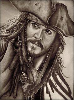 Captain Jack Sparrow by AlexMahone on deviantART ~ traditional pencil art by Deni Bozik (actual artist name)