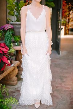 The Taylor White Polka Dot Lace Maxi Skirt