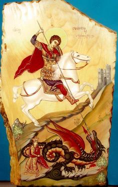 foto van N Theologhia Baba. Byzantine Icons, Byzantine Art, Life Of Jesus Christ, Saint George And The Dragon, Romulus And Remus, Dragon Slayer, Orthodox Icons, Patron Saints, Blessed Mother